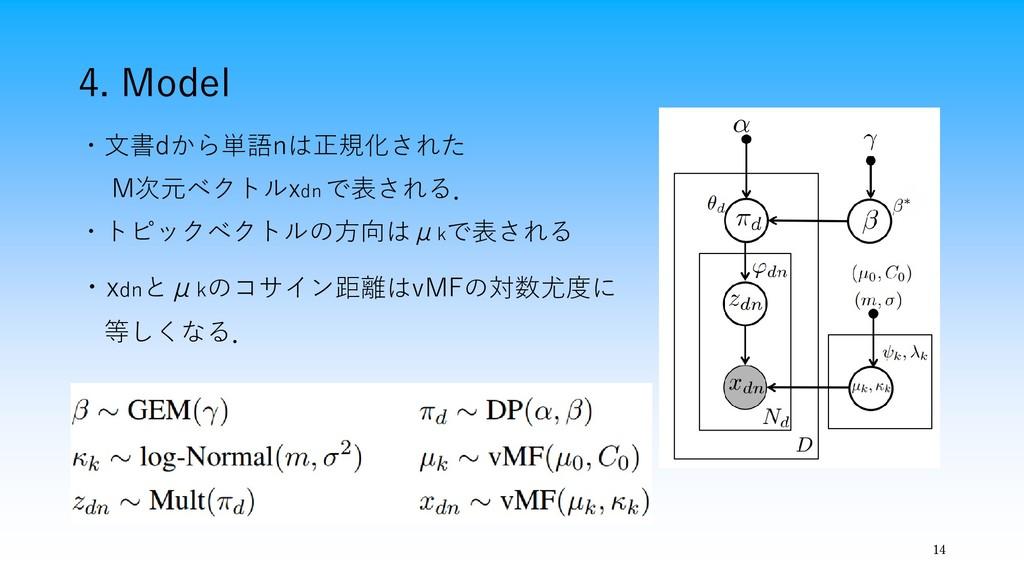 4. Model 14 ・文書dから単語nは正規化された M次元ベクトルxdn で表される. ...