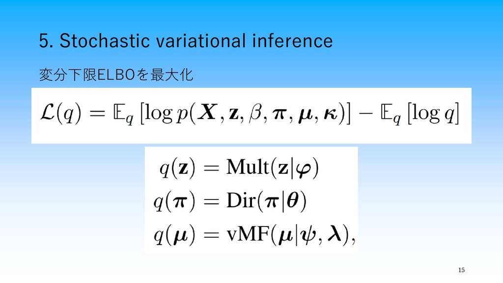 5. Stochastic variational inference 15 変分下限ELBO...