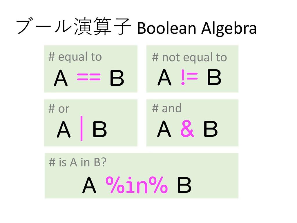 ブール演算⼦ Boolean Algebra A == B A != B A   B A & ...