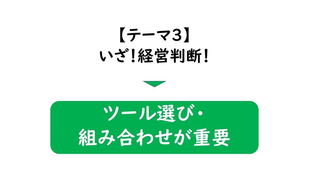 【テーマ3】 いざ!経営判断! ツール選び・ 組み合わせが重要