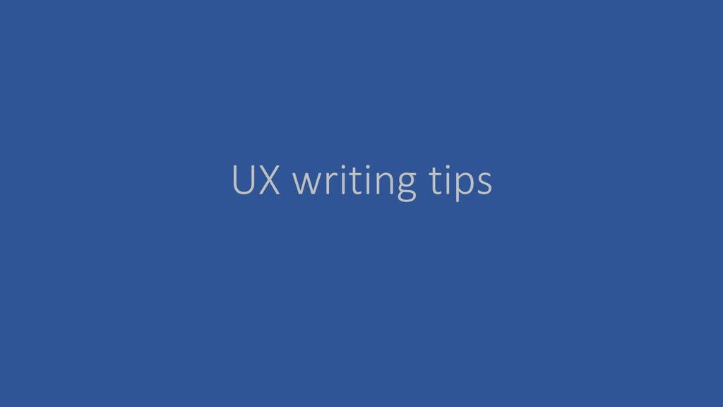 UX writing tips