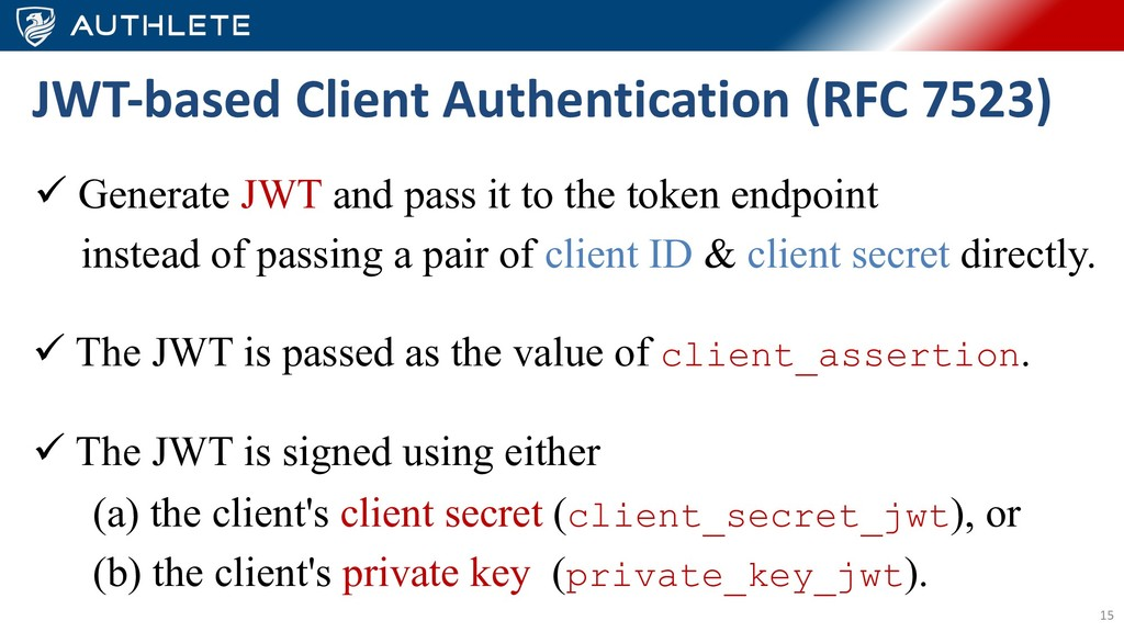 15 ü Generate JWT and pass it to the token endp...