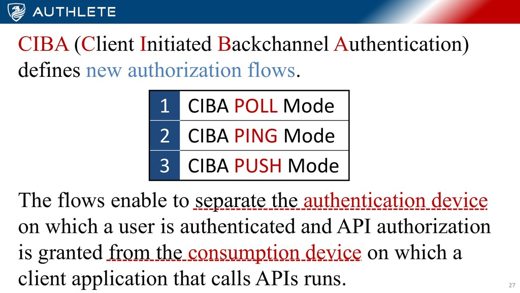 27 CIBA (Client Initiated Backchannel Authentic...