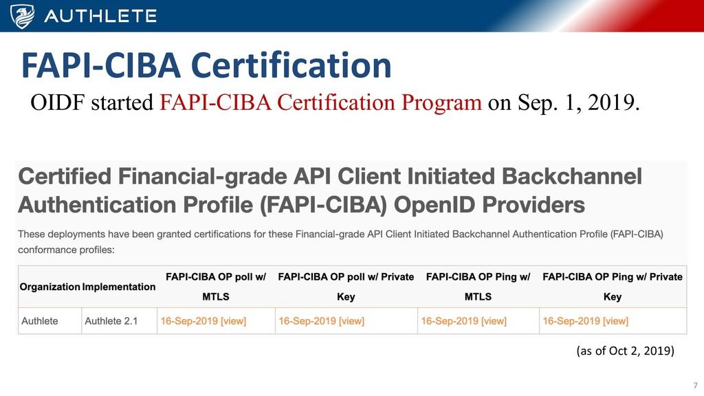 7 FAPI-CIBA Certification OIDF started FAPI-CIB...