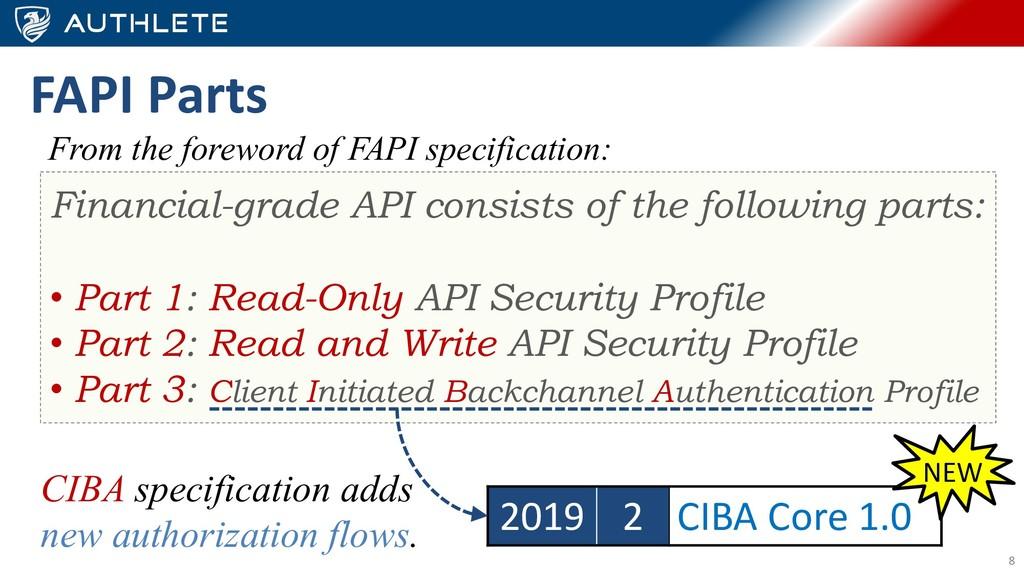 8 FAPI Parts Financial-grade API consists of th...