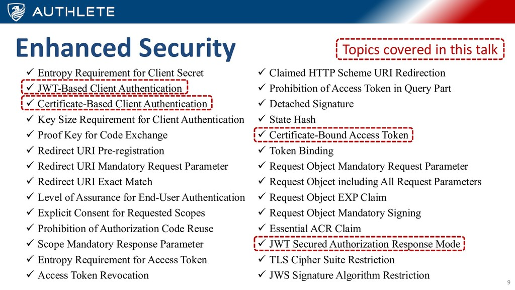9 Enhanced Security ü Entropy Requirement for C...