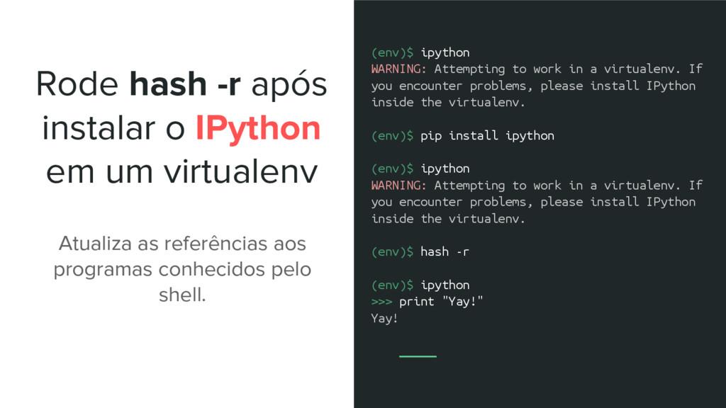 Rode hash -r após instalar o IPython em um virt...