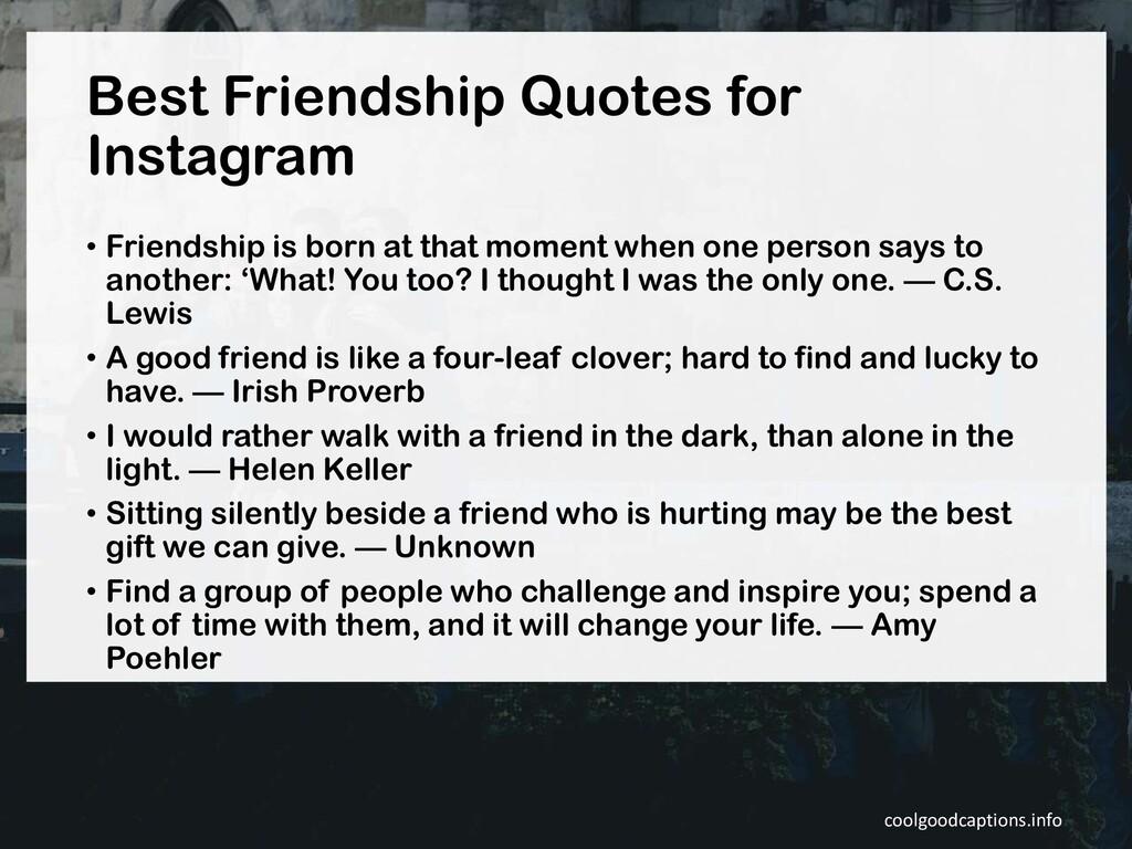 Best Friendship Quotes for Instagram • Friendsh...