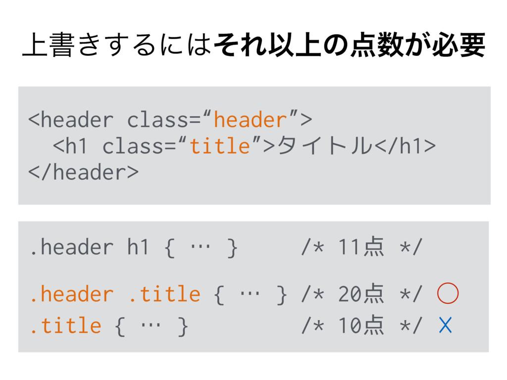 ্ॻ͖͢ΔʹͦΕҎ্ͷ͕ඞཁ .header h1 { … } /* 11点 */ .h...