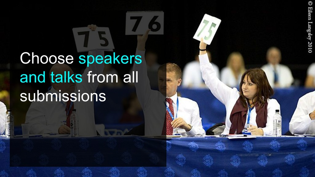 Choose speakers and talks from all submissions