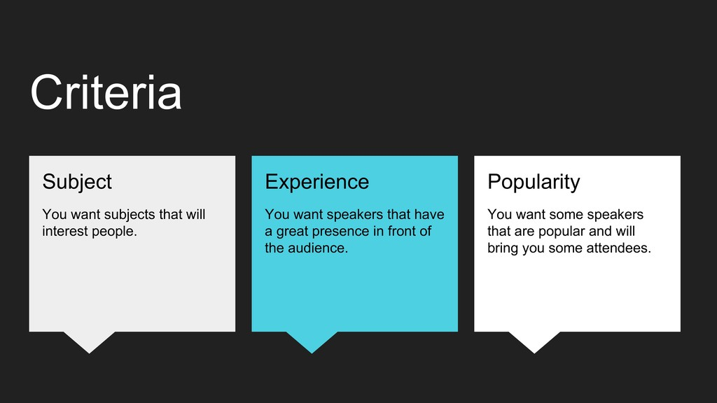 Criteria Popularity You want some speakers that...
