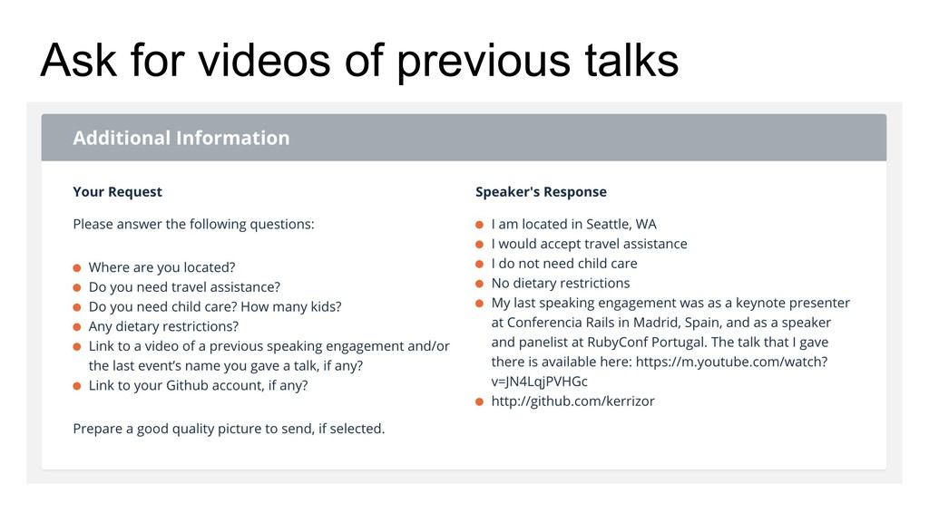 Ask for videos of previous talks