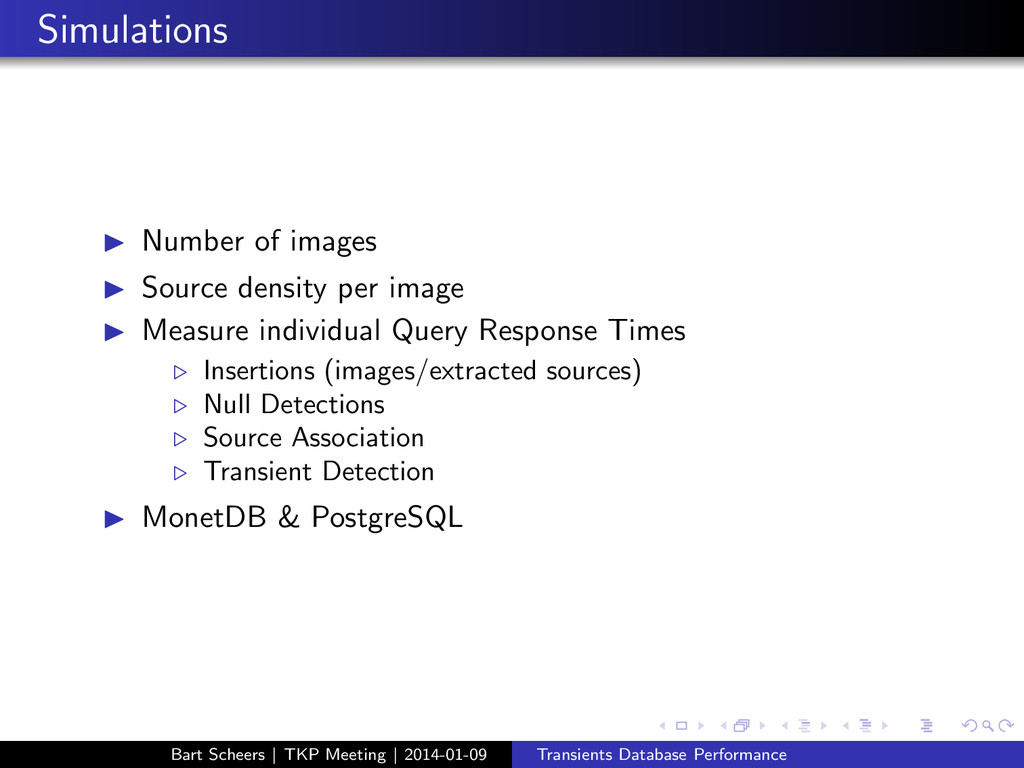 Simulations ◮ Number of images ◮ Source density...