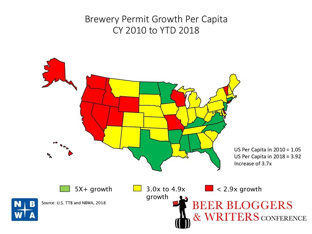 Brewery Permit Growth Per Capita CY 2010 to YTD...