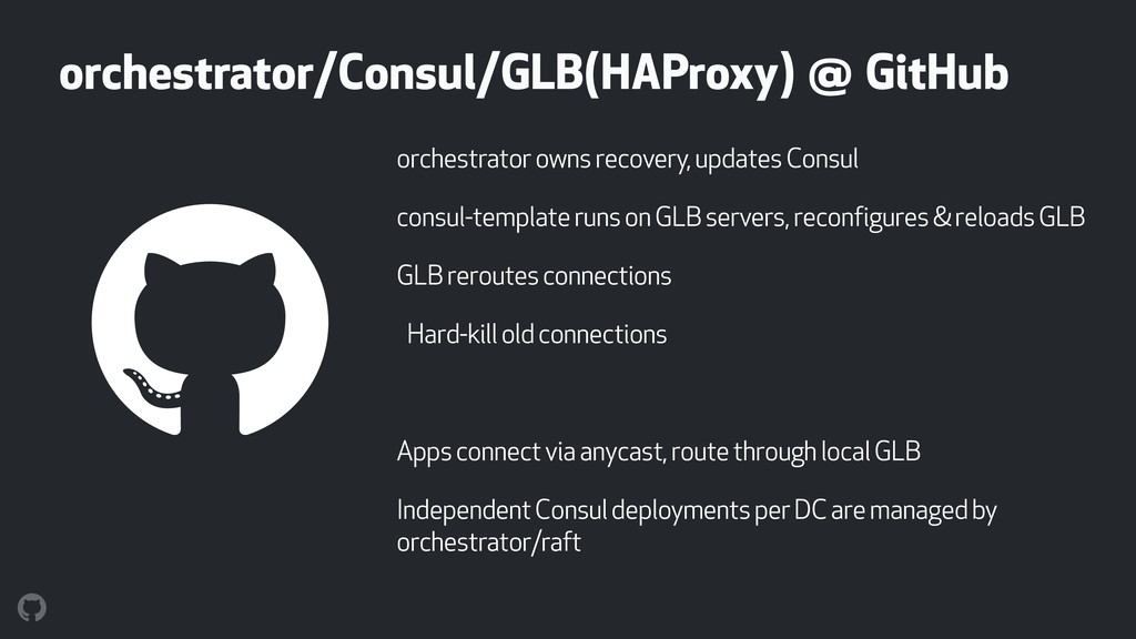 orchestrator owns recovery, updates Consul cons...