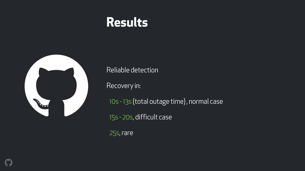 Results Reliable detection Recovery in: 10s - 1...
