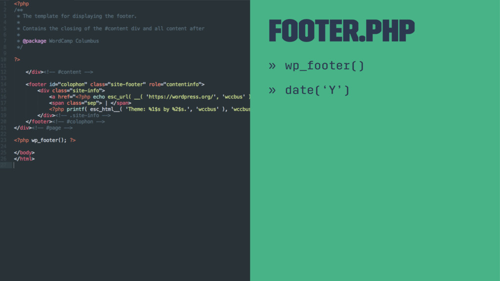 Footer.php » wp_footer() » date('Y')