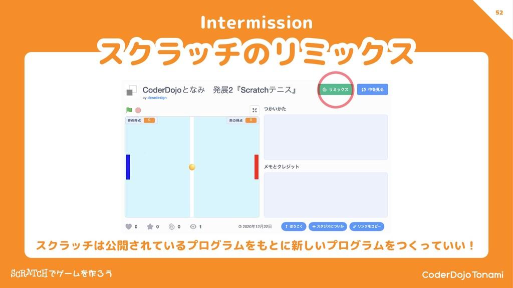 52 Intermission 52 スクラッチは公開されているプログラムをもとに新しいプログ...