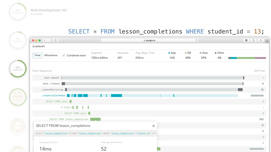 SELECT * FROM lesson_completions WHERE student_...