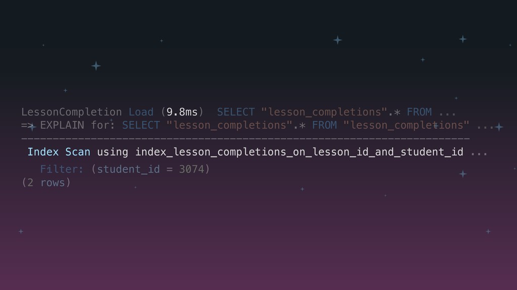 """LessonCompletion Load (9.8ms) SELECT """"lesson_co..."""