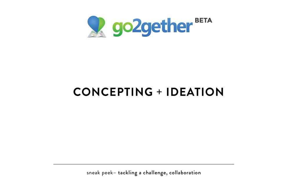 sneak peek– tackling a challenge, collaboration...