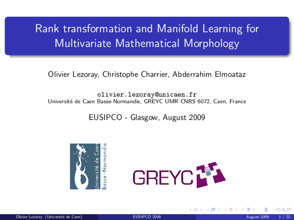 Rank transformation and Manifold Learning for M...
