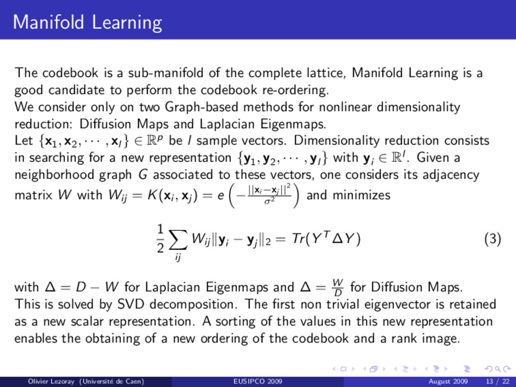 Manifold Learning The codebook is a sub-manifol...