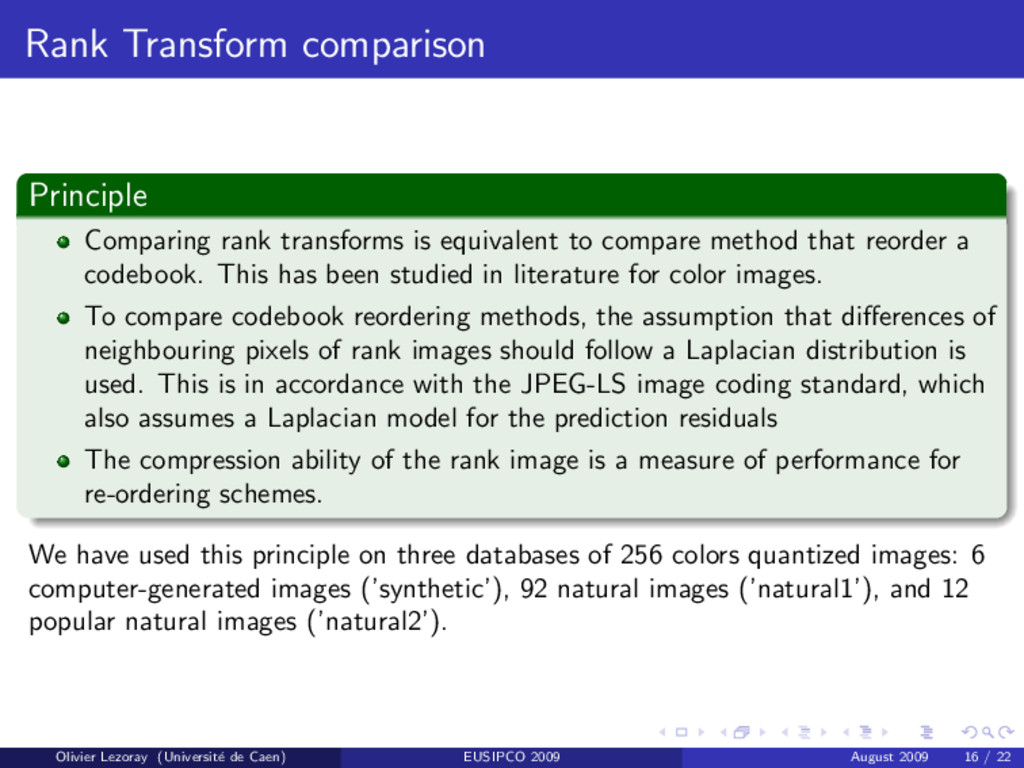Rank Transform comparison Principle Comparing r...