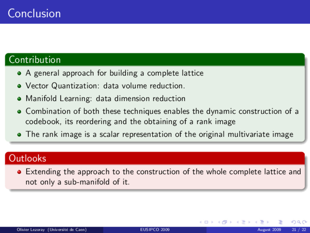 Conclusion Contribution A general approach for ...