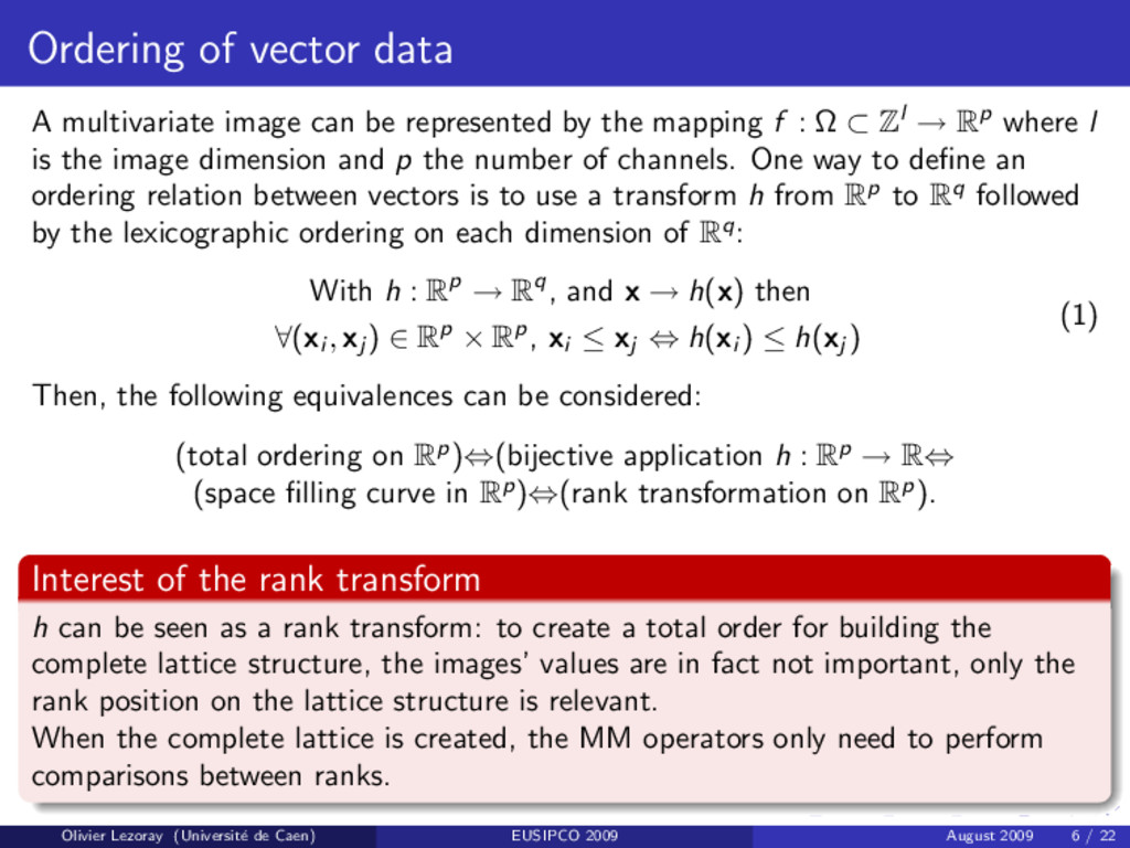 Ordering of vector data A multivariate image ca...