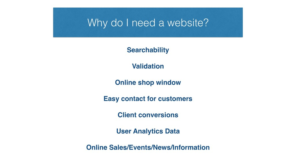 Why do I need a website? Searchability Validati...