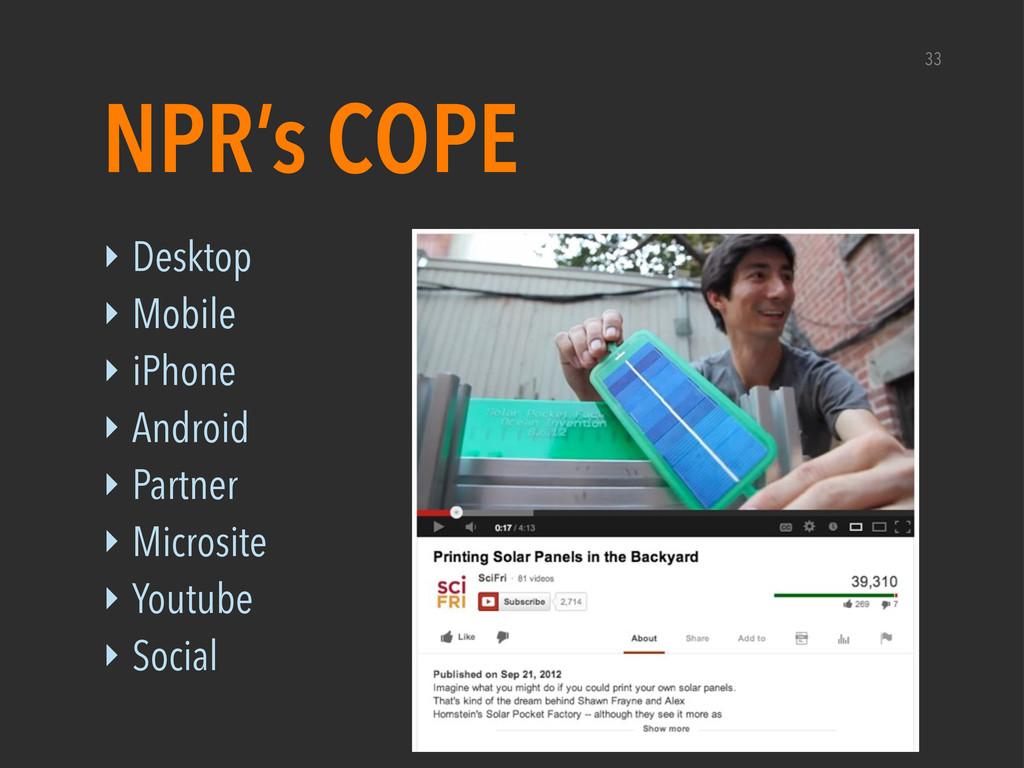‣ Desktop ‣ Mobile ‣ iPhone ‣ Android ‣ Partner...