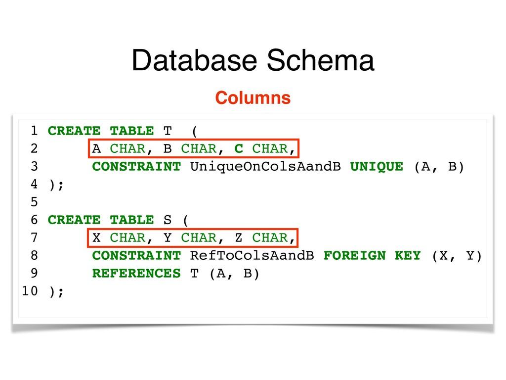 Database Schema 1 CREATE TABLE T ( 2 A CHAR, B ...