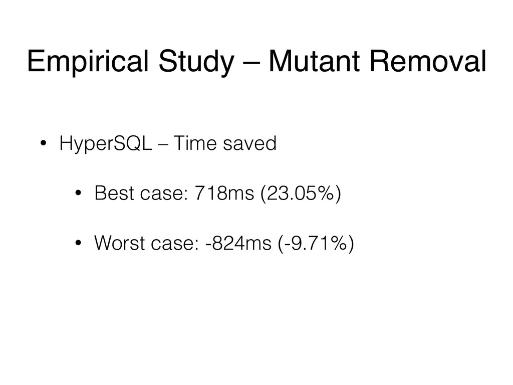 • HyperSQL – Time saved • Best case: 718ms (23....