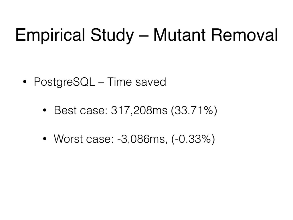 • PostgreSQL – Time saved • Best case: 317,208m...