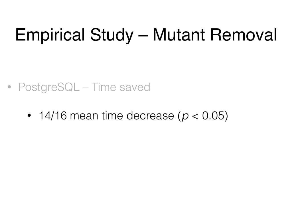 • PostgreSQL – Time saved • 14/16 mean time dec...