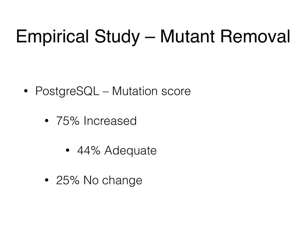 • PostgreSQL – Mutation score • 75% Increased •...