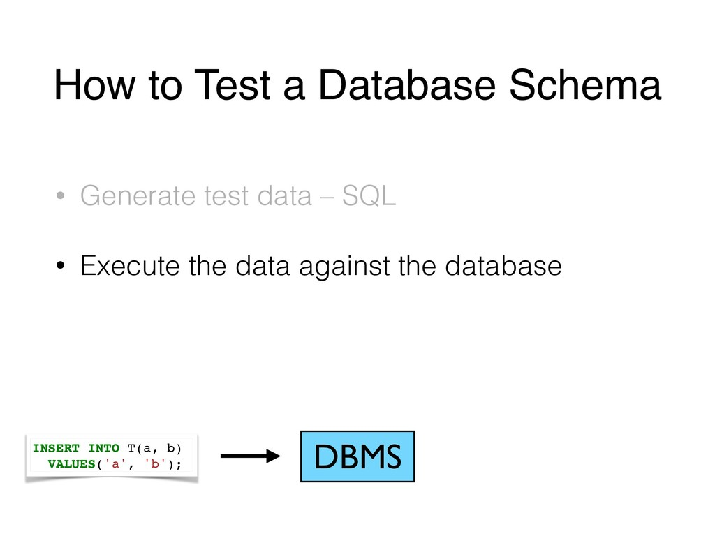 How to Test a Database Schema • Generate test d...