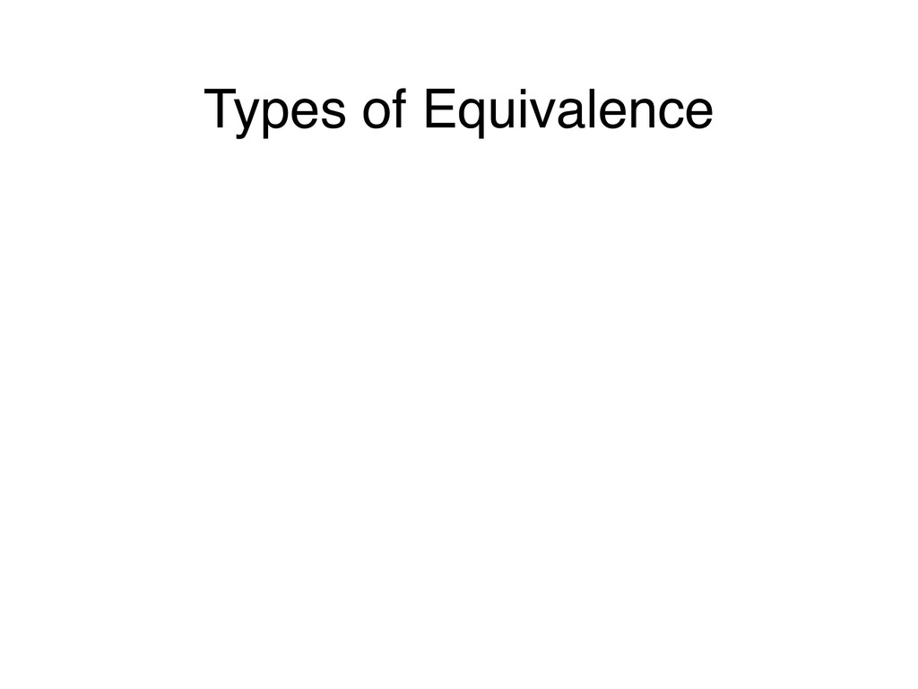 Types of Equivalence