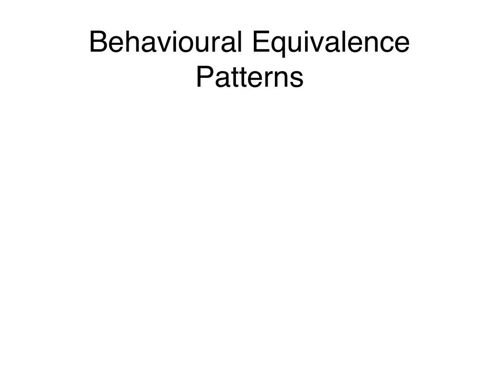 Behavioural Equivalence Patterns