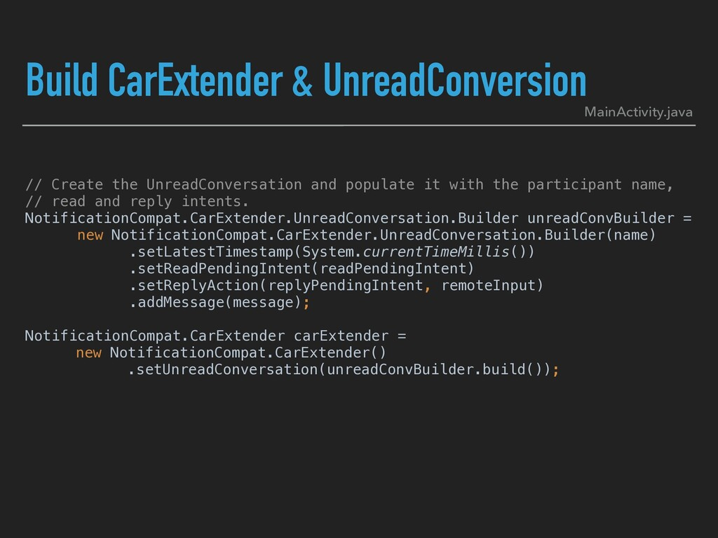 Build CarExtender & UnreadConversion // Create ...