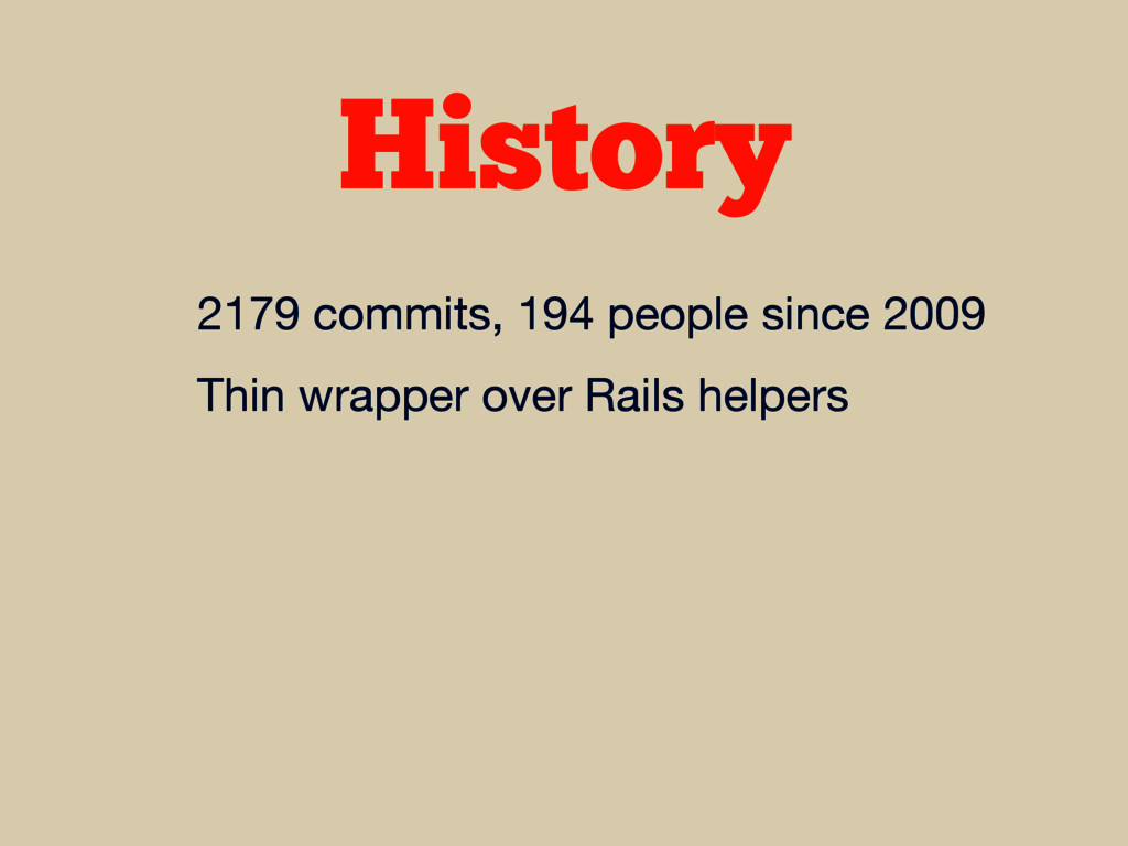 History 2179 commits, 194 people since 2009  Th...