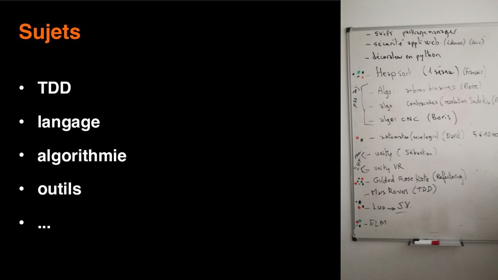23 Sujets  • TDD • langage • algorithmie • out...