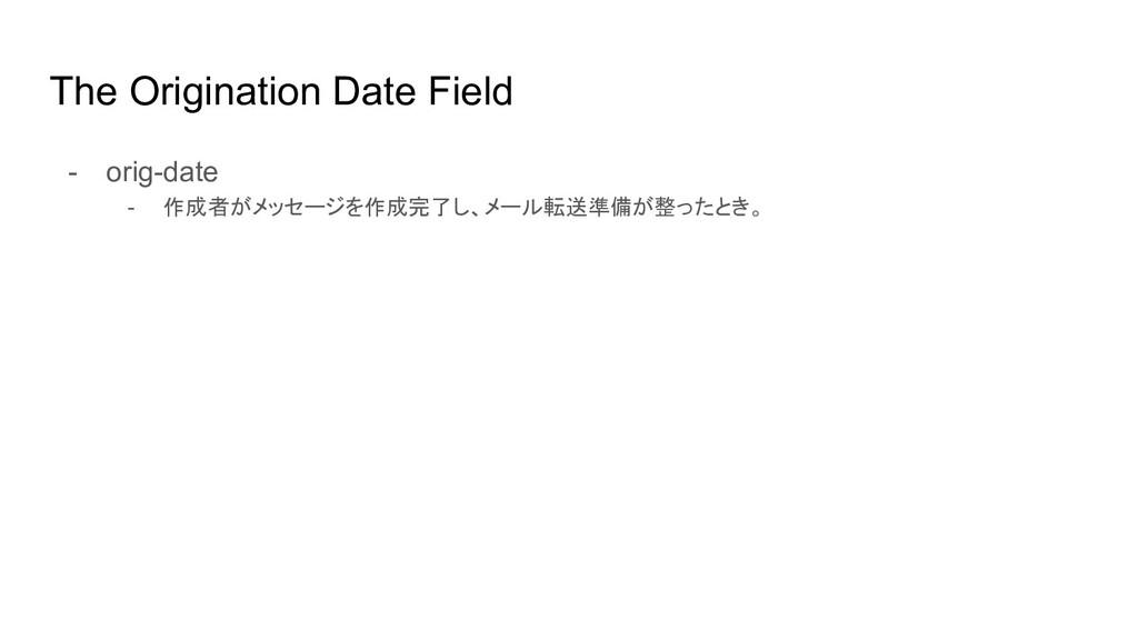 The Origination Date Field - orig-date - 作成者がメッ...