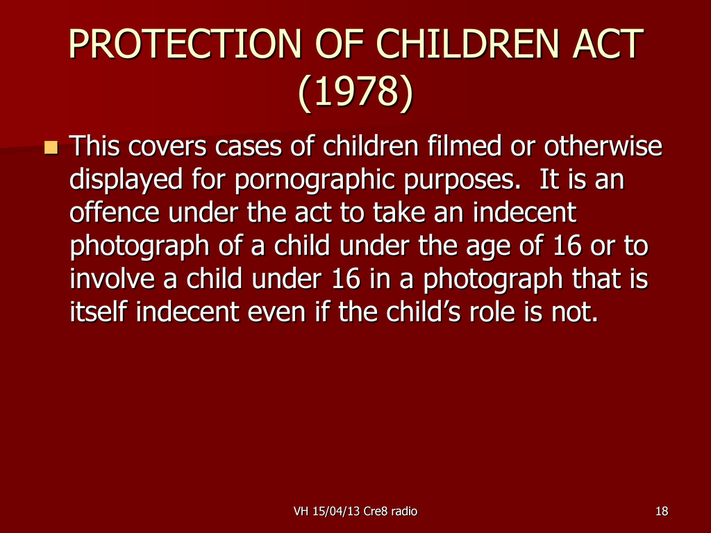 18 PROTECTION OF CHILDREN ACT (1978)  This cov...