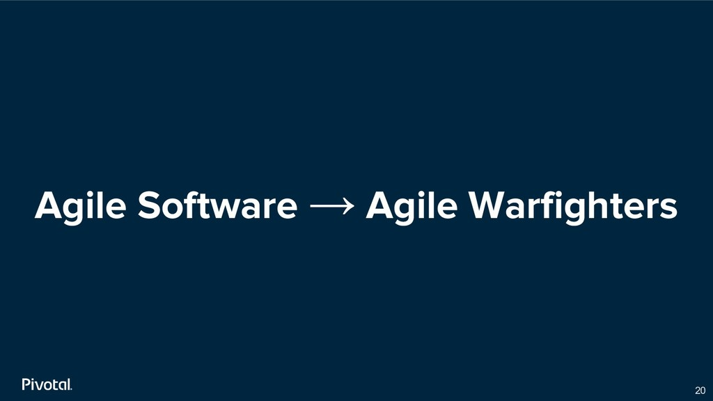 Agile Software → Agile Warfighters 20