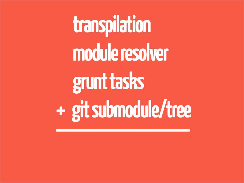 transpilation module resolver grunt tasks + git...
