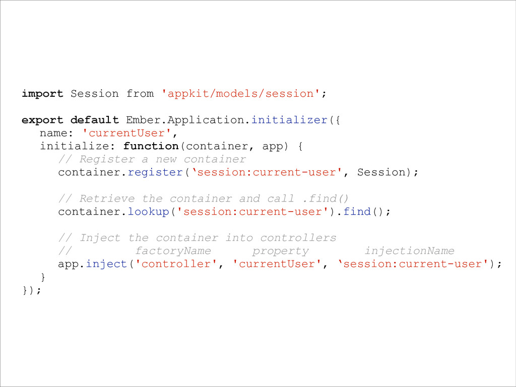 import Session from 'appkit/models/session'; ex...