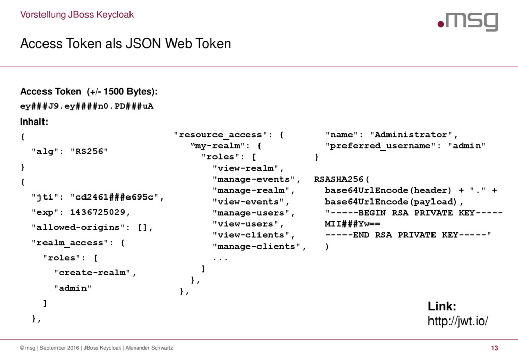 Vorstellung JBoss Keycloak Access Token als JSO...