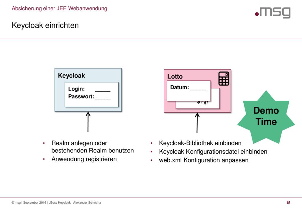 Absicherung einer JEE Webanwendung Keycloak ein...